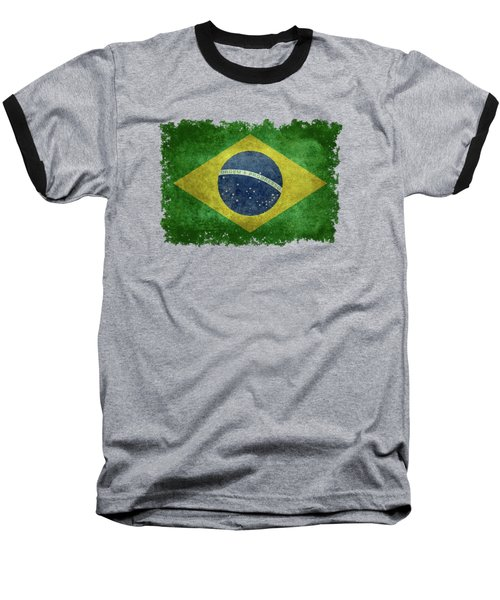 Flag Of Brazil Vintage 18x24 Crop Version Baseball T-Shirt by Bruce Stanfield