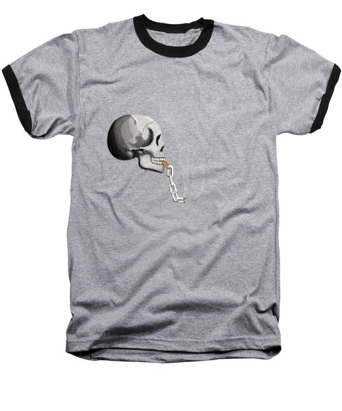 Chain Smoker Skull  Baseball T-Shirt by Keshava Shukla