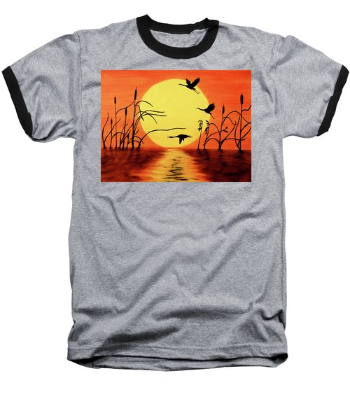 Baseball T-Shirt featuring the painting Sunset Geese by Teresa Wing