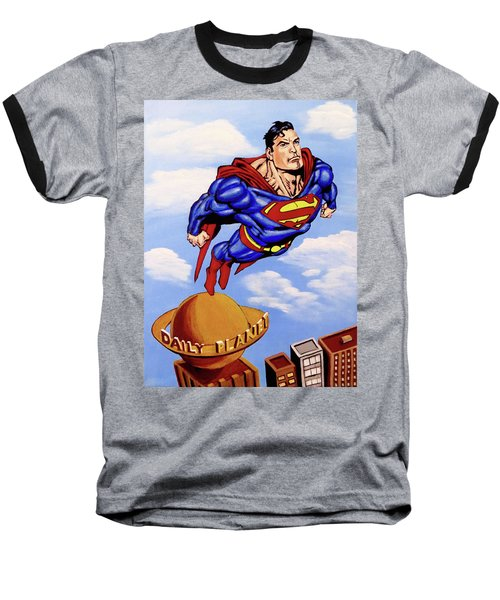 Superman Baseball T-Shirt by Teresa Wing
