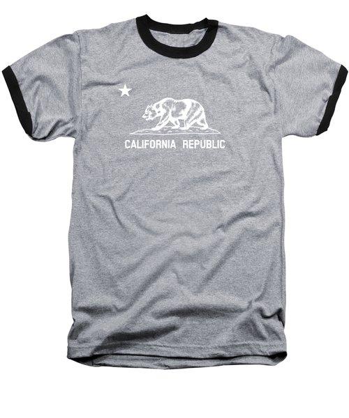 The Bear Flag - Black And White Baseball T-Shirt