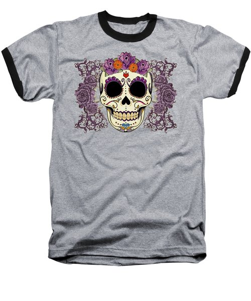 Vintage Sugar Skull And Roses Baseball T-Shirt by Tammy Wetzel