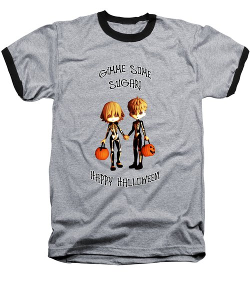 Baseball T-Shirt featuring the digital art Skeleton Twinz Halloween by Methune Hively