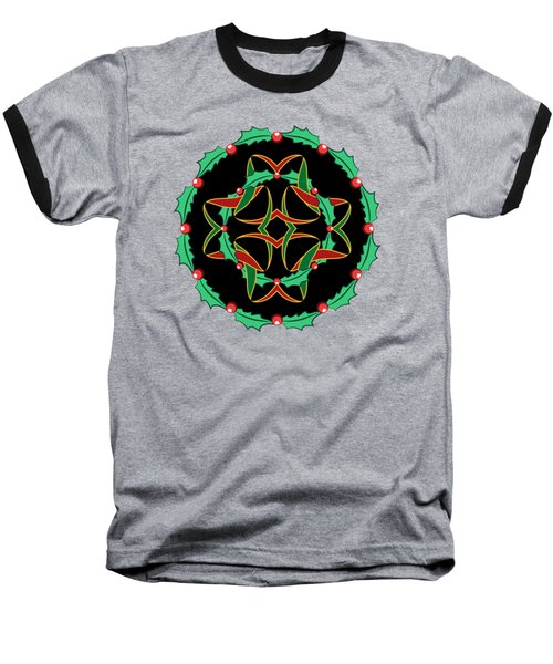 Celtic Christmas Holly Wreath Baseball T-Shirt by MM Anderson