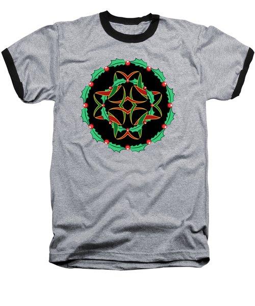 Celtic Christmas Holly Wreath Baseball T-Shirt