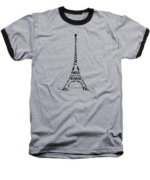 Digital Art Eiffel Tower Pattern Baseball T-Shirt by Melanie Viola