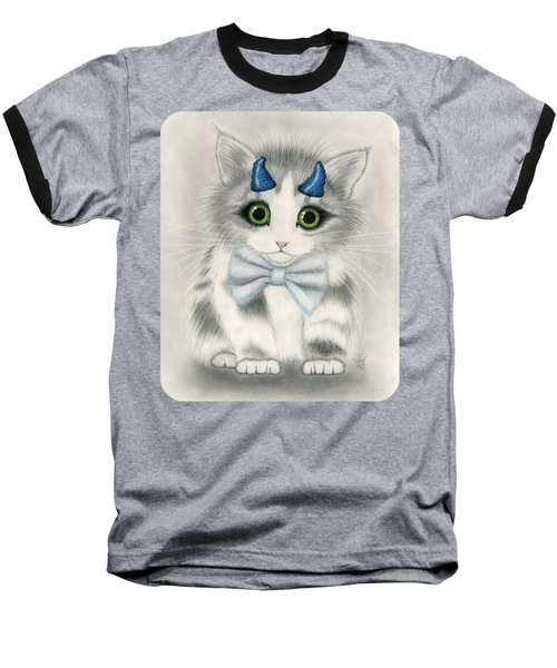 Baseball T-Shirt featuring the drawing Little Blue Horns - Devil Kitten by Carrie Hawks
