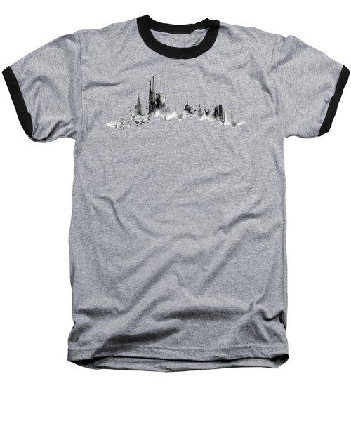 White Barcelona Skyline Baseball T-Shirt by Aloke Creative Store