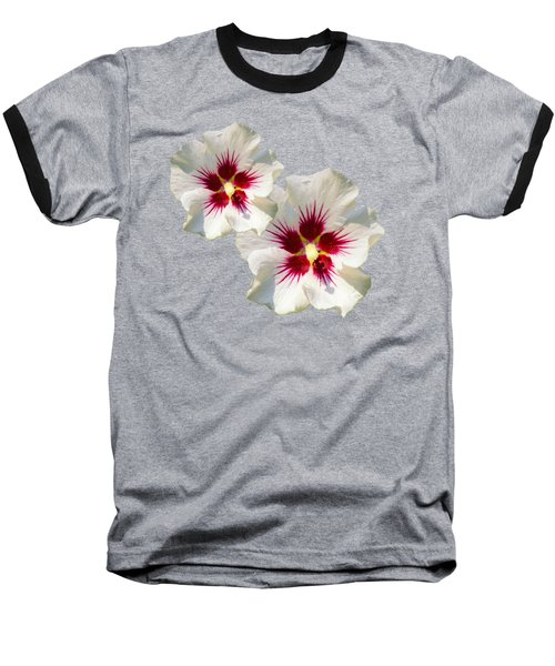 Hibiscus Flower Pattern Baseball T-Shirt