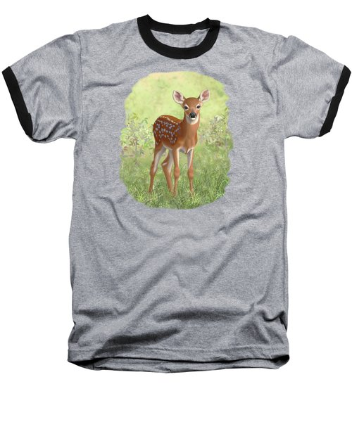 Cute Whitetail Deer Fawn Baseball T-Shirt by Crista Forest