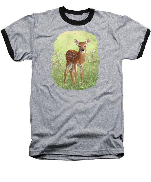 Cute Whitetail Deer Fawn Baseball T-Shirt