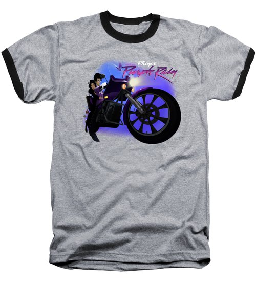 Baseball T-Shirt featuring the digital art I Grew Up With Purplerain 2 by Nelson dedos Garcia