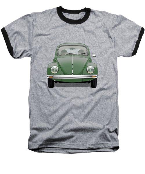 Volkswagen Type 1 - Green Volkswagen Beetle On Red Canvas Baseball T-Shirt