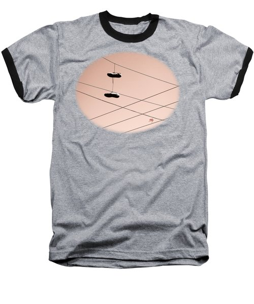Shoes On A Wire Baseball T-Shirt by Linda Hollis