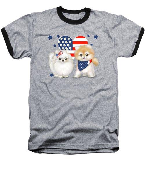 Patriotic Pomeranians Baseball T-Shirt by Catia Cho