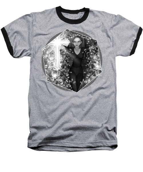 Baseball T-Shirt featuring the painting Breaking Through Darkness - Black And White Fantasy Art by Raphael Lopez