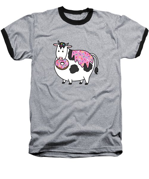 Funny Fat Holstein Cow Sprinkle Doughnut Baseball T-Shirt by Crista Forest