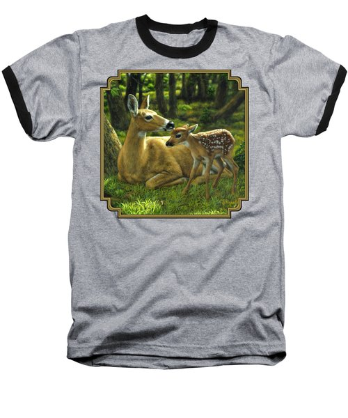Whitetail Deer - First Spring Baseball T-Shirt by Crista Forest