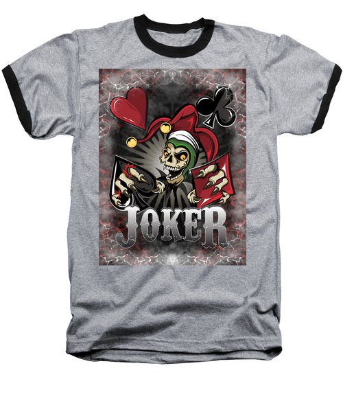 Joker Poker Skull Baseball T-Shirt