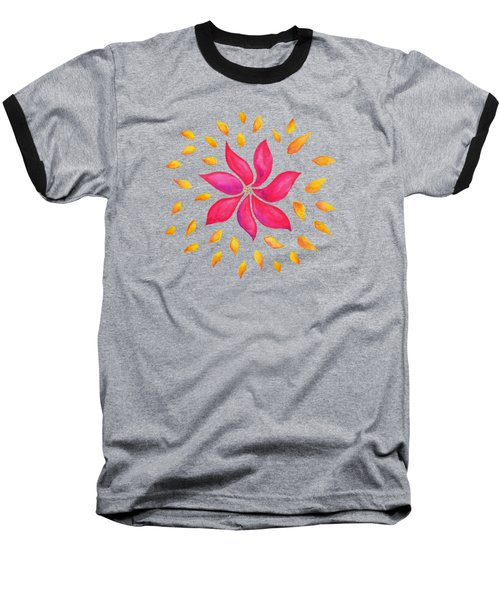 Abstract Whimsical Watercolor Pink Flower Baseball T-Shirt