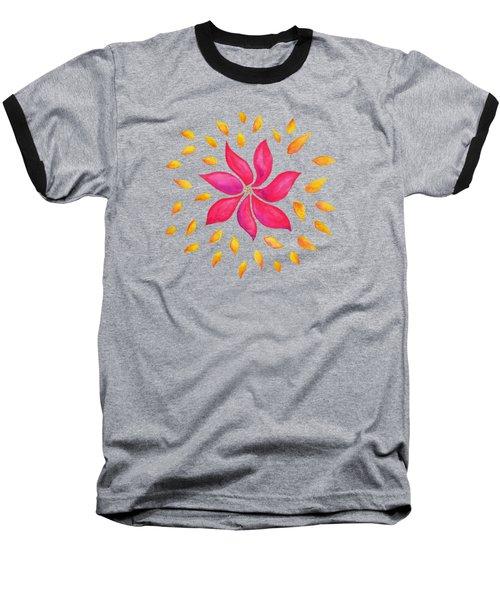 Abstract Whimsical Watercolor Pink Flower Baseball T-Shirt