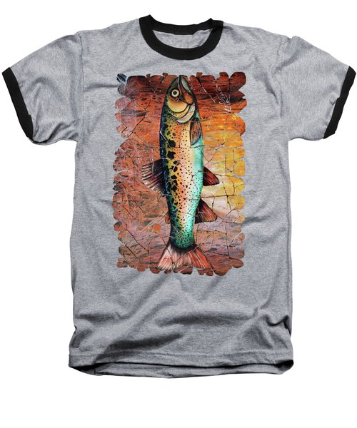 Vintage Red Trout Fresco  Baseball T-Shirt