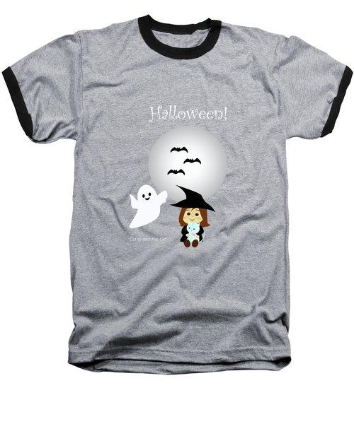 Cathy And The Cat Enjoy Halloween #4 Baseball T-Shirt