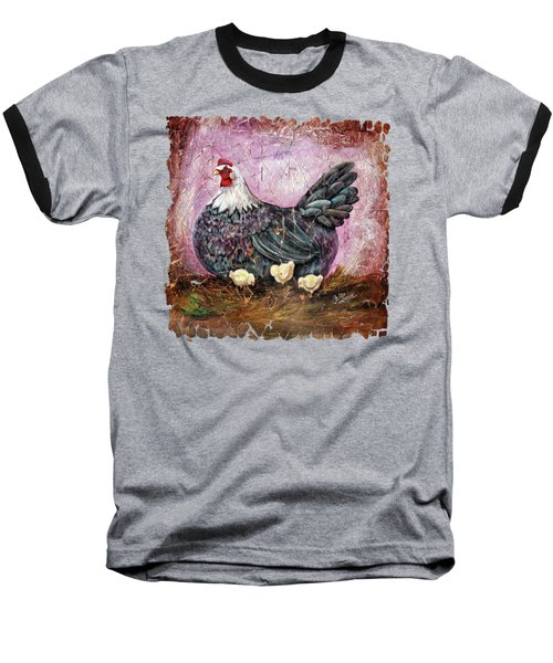 Vintage Blue Hen With Chicks Fresco  18x24 Baseball T-Shirt