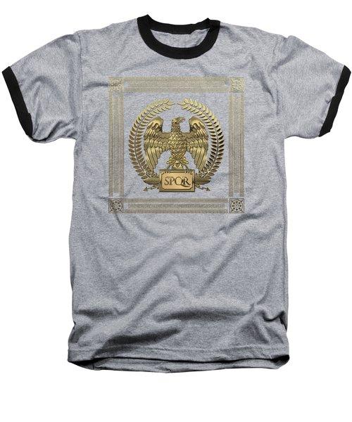 Roman Empire - Gold Imperial Eagle Over Red Velvet Baseball T-Shirt