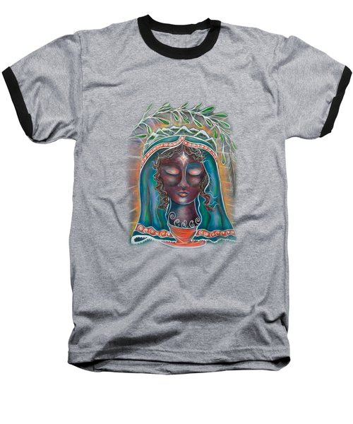 Black Madonna Baseball T-Shirt by Deborha Kerr
