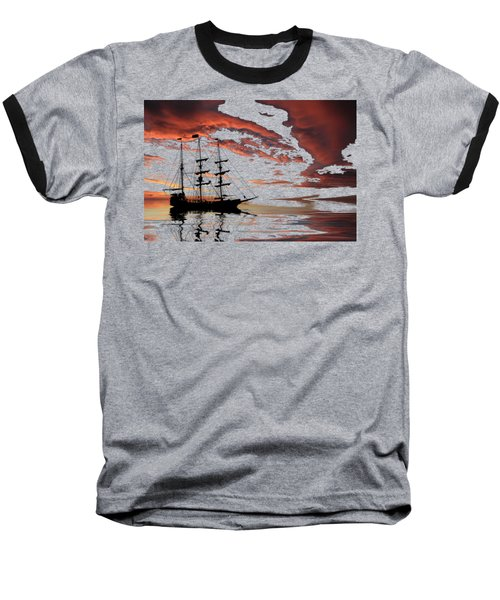 Pirate Ship At Sunset Baseball T-Shirt by Shane Bechler