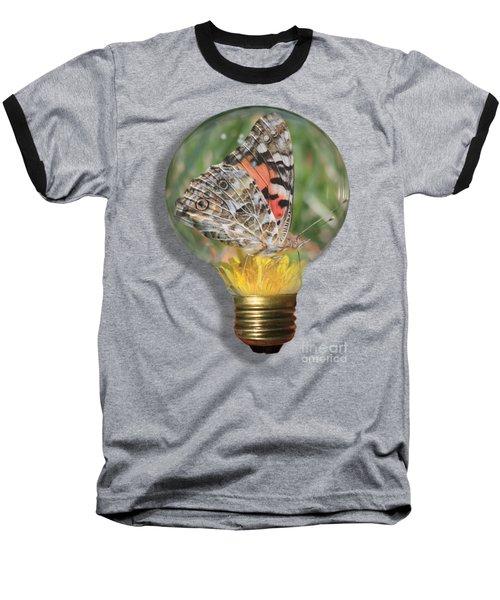 Butterfly In Lightbulb Baseball T-Shirt by Shane Bechler