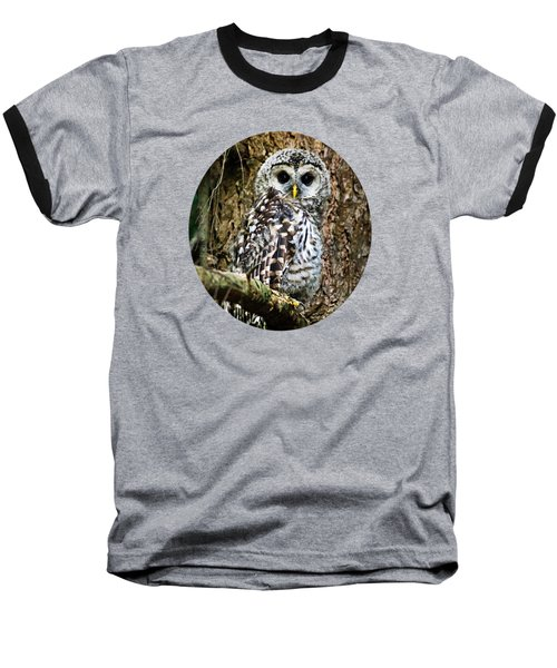 Baseball T-Shirt featuring the photograph Barred Owlet by Christina Rollo