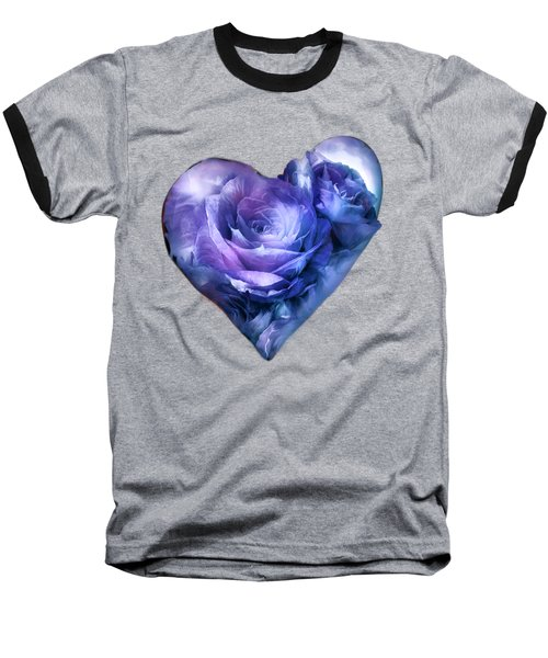 Heart Of A Rose - Lavender Blue Baseball T-Shirt by Carol Cavalaris