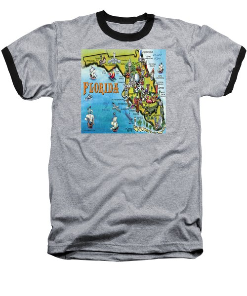 Baseball T-Shirt featuring the digital art Florida Cartoon Map by Kevin Middleton