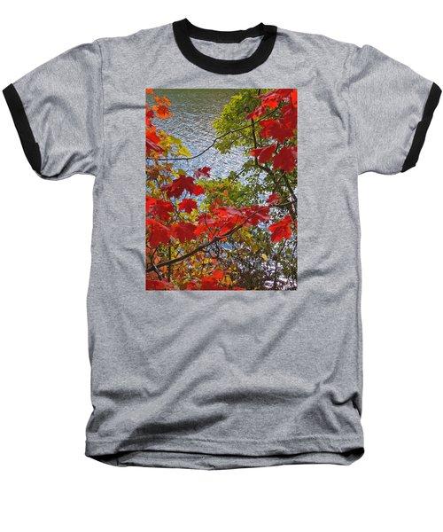 Autumn Lake Baseball T-Shirt by Ann Horn