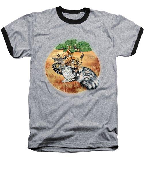 Baseball T-Shirt featuring the mixed media Cat In The Safari Hat by Carol Cavalaris