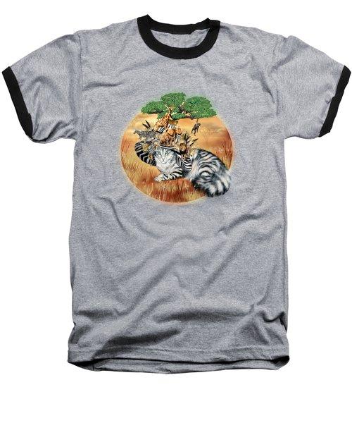 Cat In The Safari Hat Baseball T-Shirt