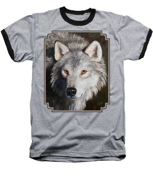 Wolf Portrait Baseball T-Shirt by Crista Forest
