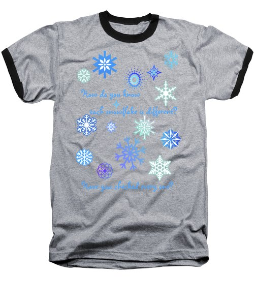 Snowflakes 2 Baseball T-Shirt by Methune Hively