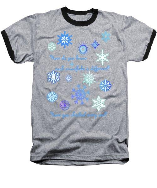 Snowflakes 2 Baseball T-Shirt