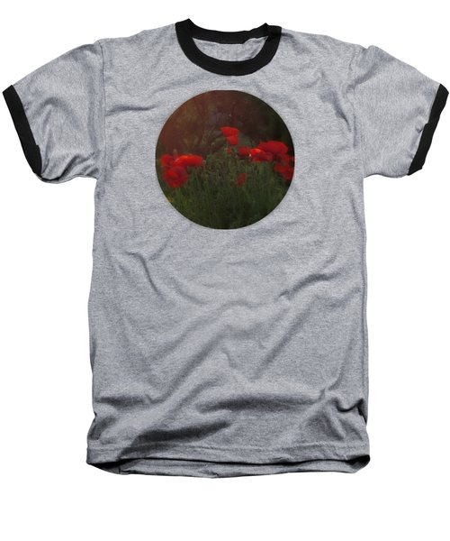 Sunset In The Poppy Garden Baseball T-Shirt by Mary Wolf