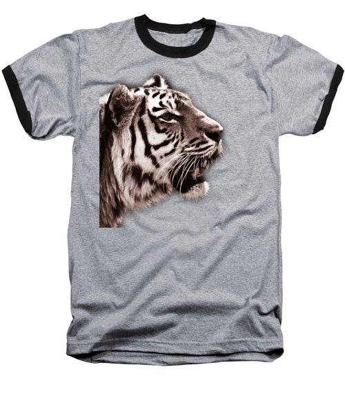 Siberian Tiger Profile Baseball T-Shirt by Crystal Wightman