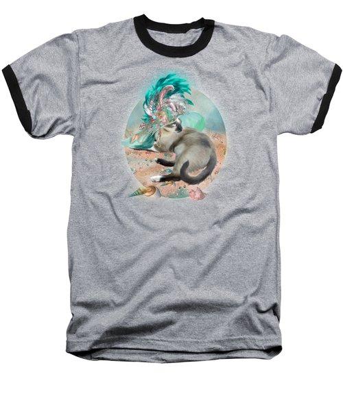 Cat In Summer Beach Hat Baseball T-Shirt