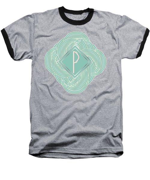 1920s Blue Deco Jazz Swing Monogram ...letter P Baseball T-Shirt by Cecely Bloom