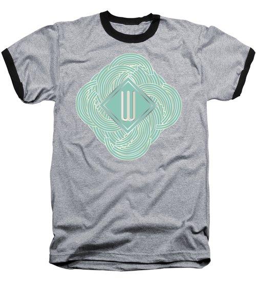1920s Blue Deco Jazz Swing Monogram ...letter W Baseball T-Shirt