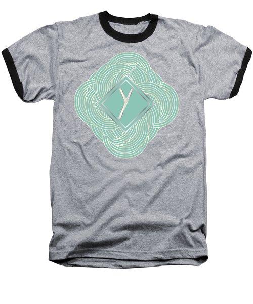 1920s Blue Deco Jazz Swing Monogram ...letter Y Baseball T-Shirt