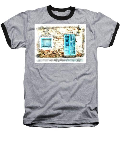 Arzachena Window And Blue Door Store Baseball T-Shirt