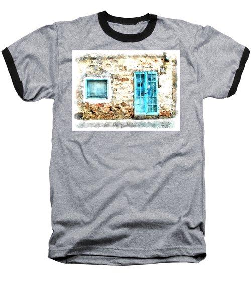Arzachena Window And Blue Door Store Baseball T-Shirt