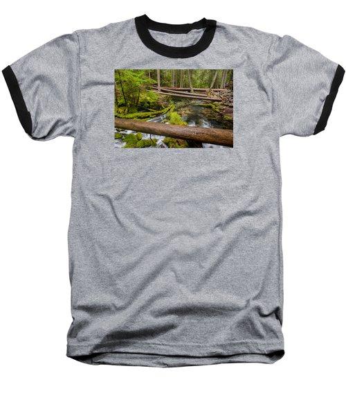 As The Creek Flows Baseball T-Shirt by Greg Nyquist